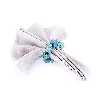 Napkin Ring Beaded Teal/Silver - Set Of 4 Pieces