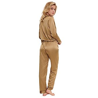 LingaDore Schwarz Weihrauch 5504SET-262 Frauen's Butternut Beige Satin Pyjama Set