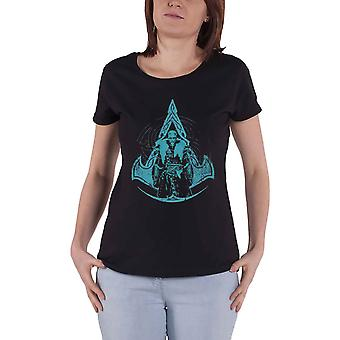 Assassins Creed Valhalla T Shirt Symbol Logo Official Womens Skinny Fit Black