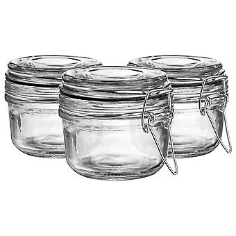 Argon Tableware Glass Storage Jars with Airtight Clip Lid - 125ml Set - Black Seal - Pack of 3