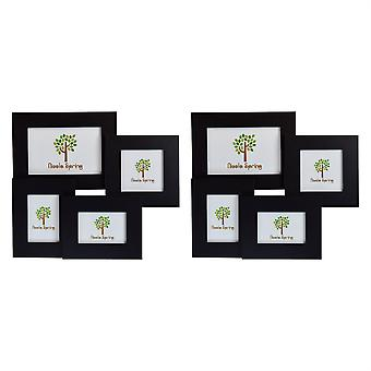 Nicola Spring Multi Collage Hanging Photo Black Frame - 4 photo spaces - Pack Of 2