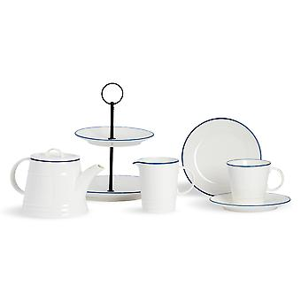 Nicola Spring 9 Piece Country Farmhouse White Afternoon Tea Set - Teapot, Milk Jug, Cake Stand, Teacups and Saucers