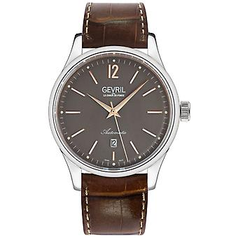 Gevril Men's 4259A Five Points Swiss Automatic Brown Leather Date Watch