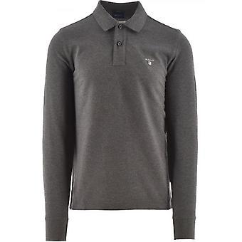GANT Grey Classic Long Sleeve Polo Shirt
