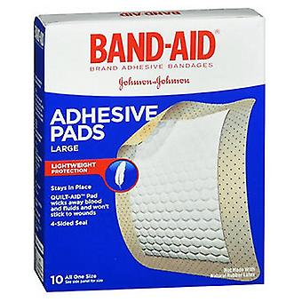 Johnson & Johnson Band-Aid Adhesive Pads Bandages, Large 10 each