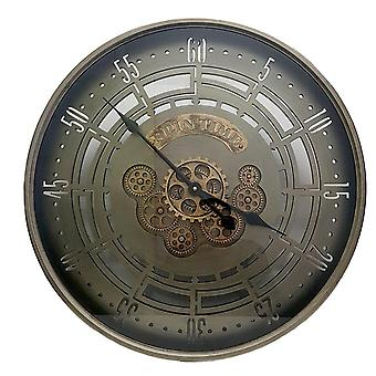 D60cm Round Spin Time Modern moving cogs Clock - Silver