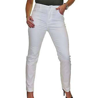 Frauen's Gerade Bein hohe Taille Jeans Damen Stretch Chino Hose Smart Casual 10-20