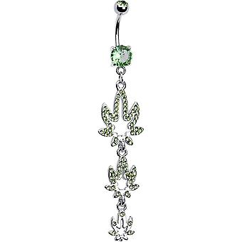 """Belly navel ring dangle-style with pot weed leaves 14ga-3/8""""(10mm)"""