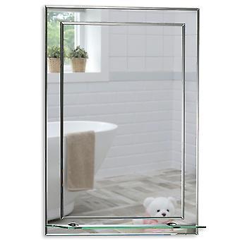Rectangular Wall Mirror 70 x 50cm Shelf & Demister