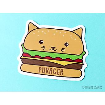 Burger Cat Vinyl Sticker Purrger
