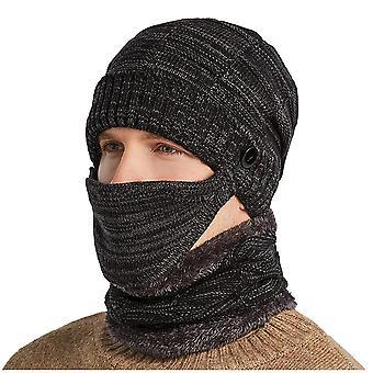 Männer warme Schädel Mütze + weichen Schal zweiteilige set, Winter Verdickung Hut, männlich