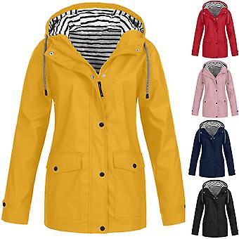 Women Jackets, Winter Coat Solid, Rain Outdoor Plus Waterproof Hooded Raincoat,