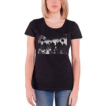 The Beatles T Shirt Smiles Band shot Photo new Official Womens Skinny Fit Black