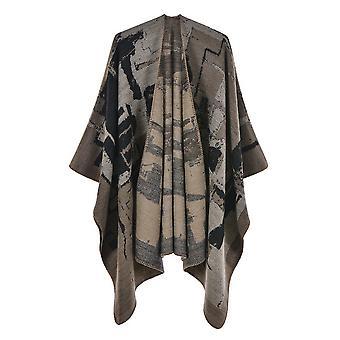 Ladies Autumn And Winter Plus Size Graffiti Khaki Warm Scarf Blanket Shawl