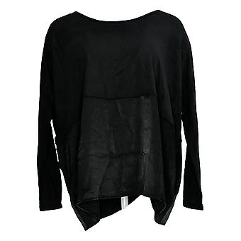 Anybody Women's Top Cozy Knit Oversized Top w/ Satin Trim Black A367657