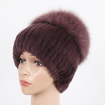 Winter Real Rex Rabbit Bont hoeden Warm Gebreid 100% echte Rex Rabbit Fur Hat