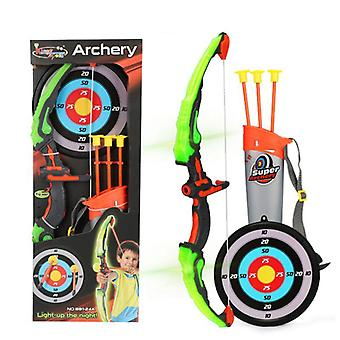 Light Up Archery Bow And Arrow Toy Set, With 3 Suction Cup Arrows, Target, And