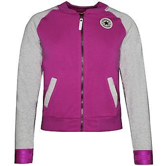 Converse Junior Girls Raglan Varsity Jacket Zip Up Sweatshirt 466356 P2C