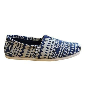 Toms Classic Navy White Woven Cultural Slip On Mens Espadrille Shoes 10008368