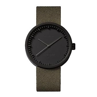 Leff Amsterdam LT72014 D42 Black Tube Wristwatch With Green Cordura Strap