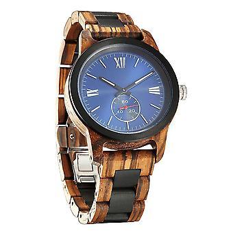 Men's Χειροποίητη Χαρακτική Ζέβρα Ebony Ξύλο Ρολόι - Καλύτερη Ιδέα!