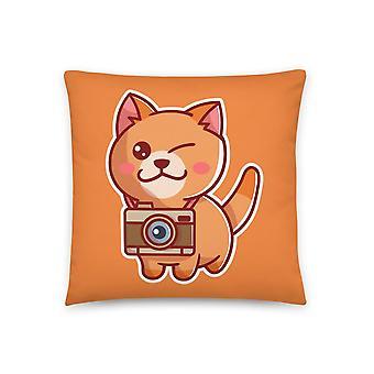 Catmera - Orange cat with camera pillow