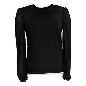 Du Jour Mujeres's Top XXS Ponte Knit W/ Chiffon Princess Sleeves Negro A384071