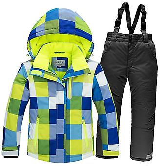 Gyerekek szélálló meleg gyapjú hó ruha beleértve kabát-nadrág