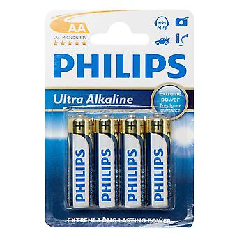 New Phillips Ultra Alkaline AA LR6 B4 Batteries 4 Pack Multi