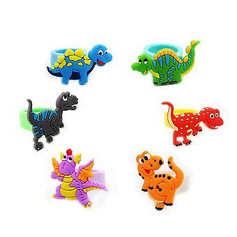 Flexible, Colorful Dinosaur Cartoon Design- Rubber Rings