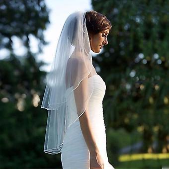 Twee laag sluier met kam, bruiloft zachte tule korte vrouw bruids sluiers
