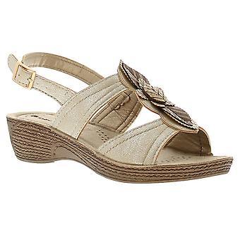 Inblu instill womens ladies wedge sandals gold UK Size