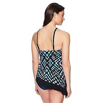 Brand - Coastal Blue Women's Control Swimwear Asymmetrical Hem Tankini Top, Stained Glass, XL (16-18)