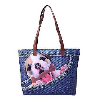 Bedårende Svart og Hvit Hund i Jeans Pocket Print Tote Bag i Blå 42x9x32cm