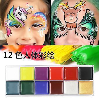 12 cores não tóxicas Face Body Art Pintando Corpo Seguro Água Óleo de Tinta