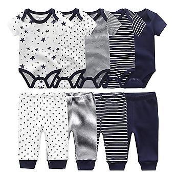 Nou-născut Unisex Solid Bodysuits + pantaloni, Baby Short Sleeve Îmbrăcăminte