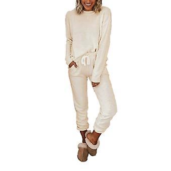 White Ribbed Texture Round Neck Pocketed Drawstring Pajama Set
