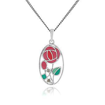 Rennie Mackintosh Round Marcasite & Enamel Pendant Necklace in 925 Sterling Silver 214N509101925