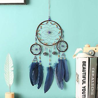 HanFei Boho Traumfnger, Handgemachte Dreamcatcher mit Blau Federn, Wandbehang Vintage Hochzeit