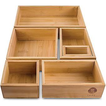 TAKE 6-teiliges Schubladen Ordnungssystem aus 100% Natur Bambus, variable Schubladen Organizer Boxen