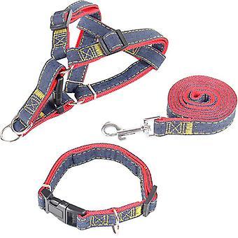 Cowboy Hond Tractie Riem Hond Borstband Hondenhalsband Driedelig Pak Dik slijtvast Maat S