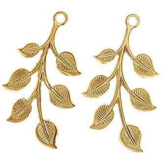 Vintaj Vogue Pendants, Spring Leaves 37x18mm, 2 Pieces, Raw Brass