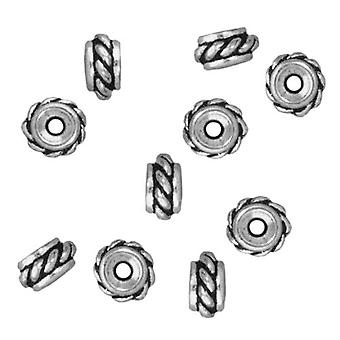 TierraCast Fine Silver Plated Pewter Twisted Spacer Beads 6mm (10)