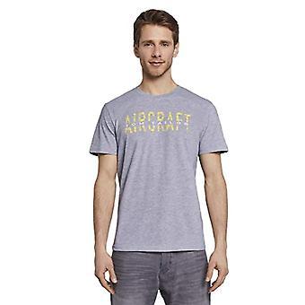 Tom Tailor Basic Print T-Shirt, 15398-Light Stone Grey Mel, M Man