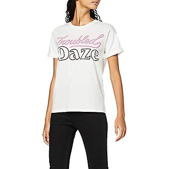 Amazon brand - find. Girocollo T-shirt with Slogan Woman, White, 40, Label: XS