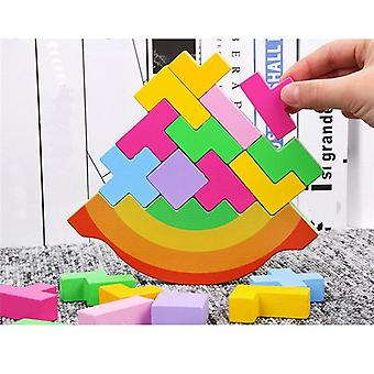 Colorful Balance Toys Wooden Height 3D Puzzle Tetris Preschool Game Play Kids Toys Gift|Blocks