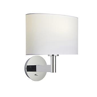vegg lampe forkrommet plate, vintage hvitt stoff oval nyanse med usb-kontakt