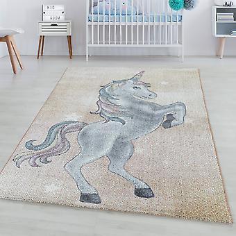 Tappeto per bambini DIVERTENTE tappeto corto tappeto unicorno design stella