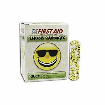 Dukal Adhesive Strip American White Cross Stat Strip 3/4 X 3 Inch Plastic Rectangle Kid Design (Emojis) , Kid Design (Emojis) 100 Count