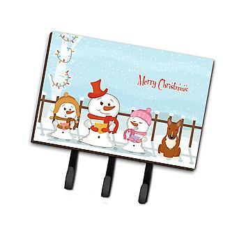 Tesoros de Caroline Feliz Navidad Villancicos Bull Terrier Correa Roja o Titular de llave Bb2465Th68, Triple, Multicolor